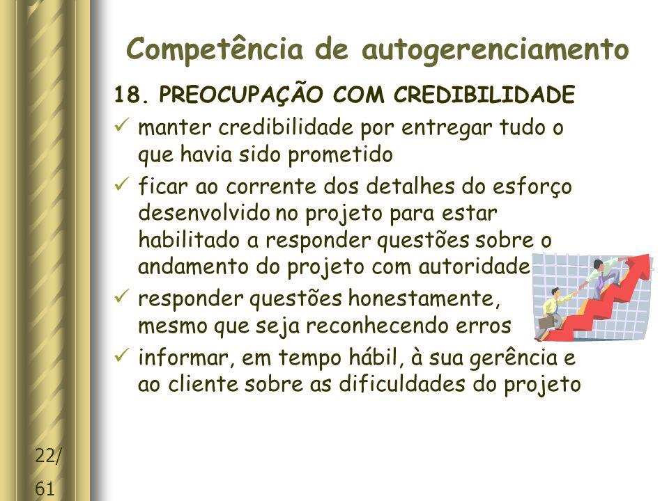 22/ 61 Competência de autogerenciamento 18.