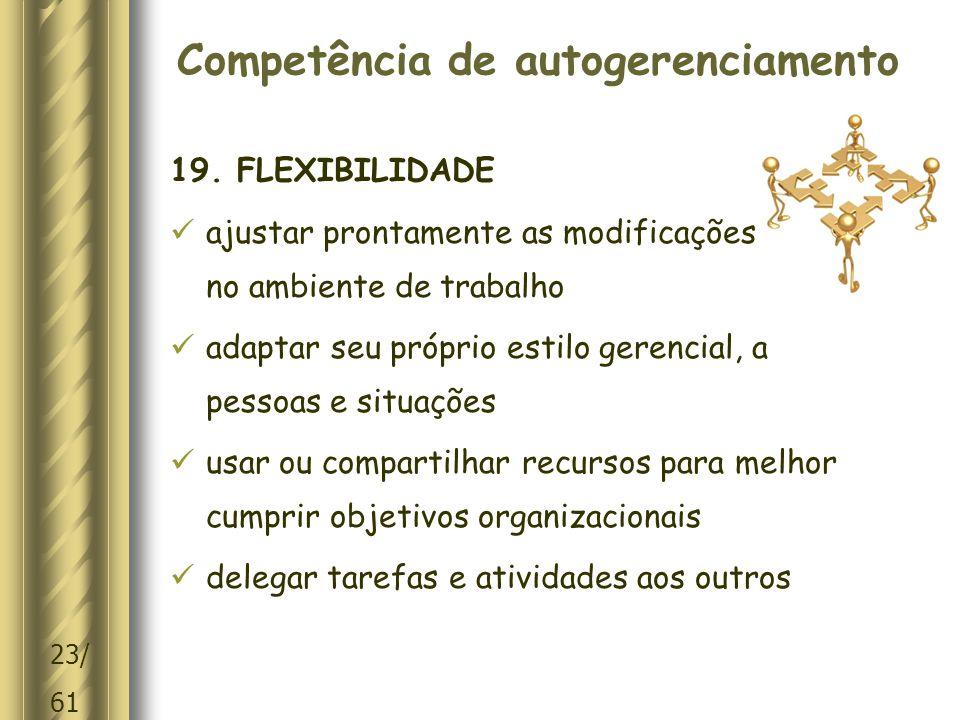 23/ 61 Competência de autogerenciamento 19.
