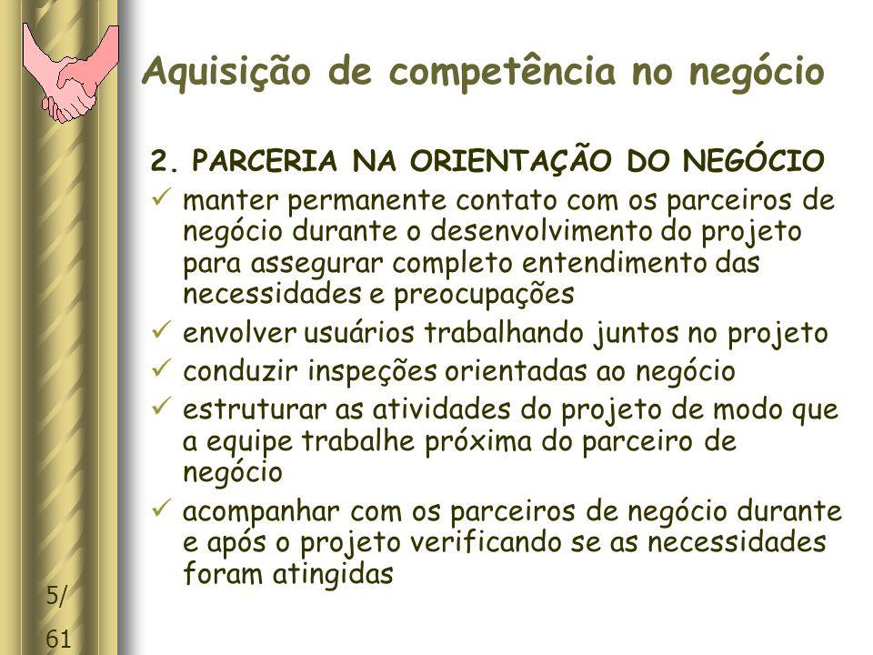 6/ 61 Aquisição de competência no negócio 3.