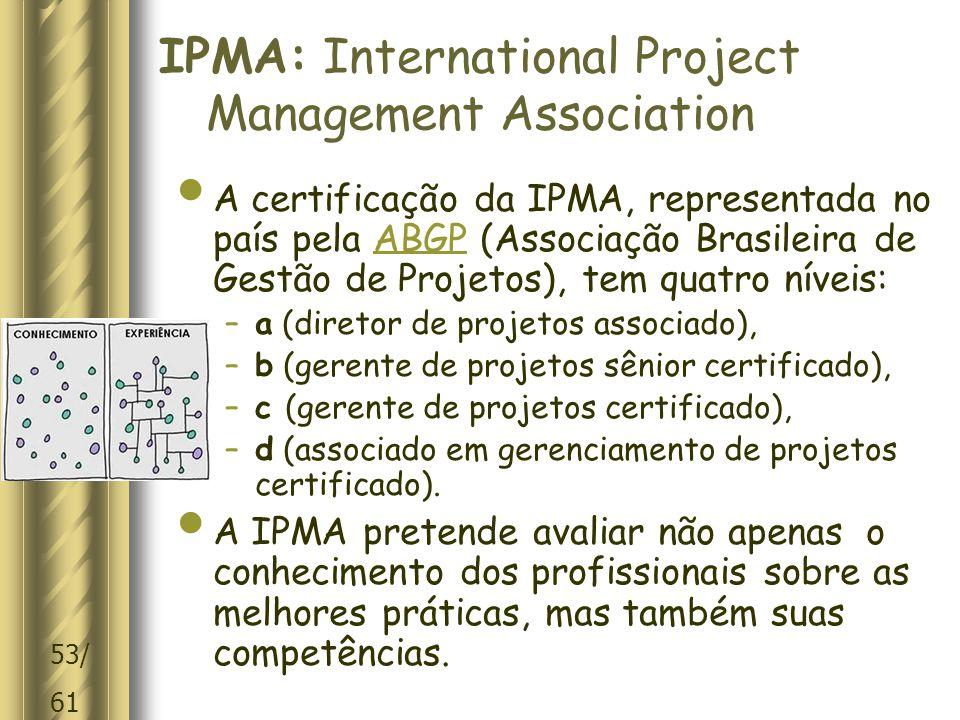 53/ 61 IPMA: International Project Management Association A certificação da IPMA, representada no país pela ABGP (Associação Brasileira de Gestão de Projetos), tem quatro níveis:ABGP –a (diretor de projetos associado), –b (gerente de projetos sênior certificado), –c (gerente de projetos certificado), –d (associado em gerenciamento de projetos certificado).