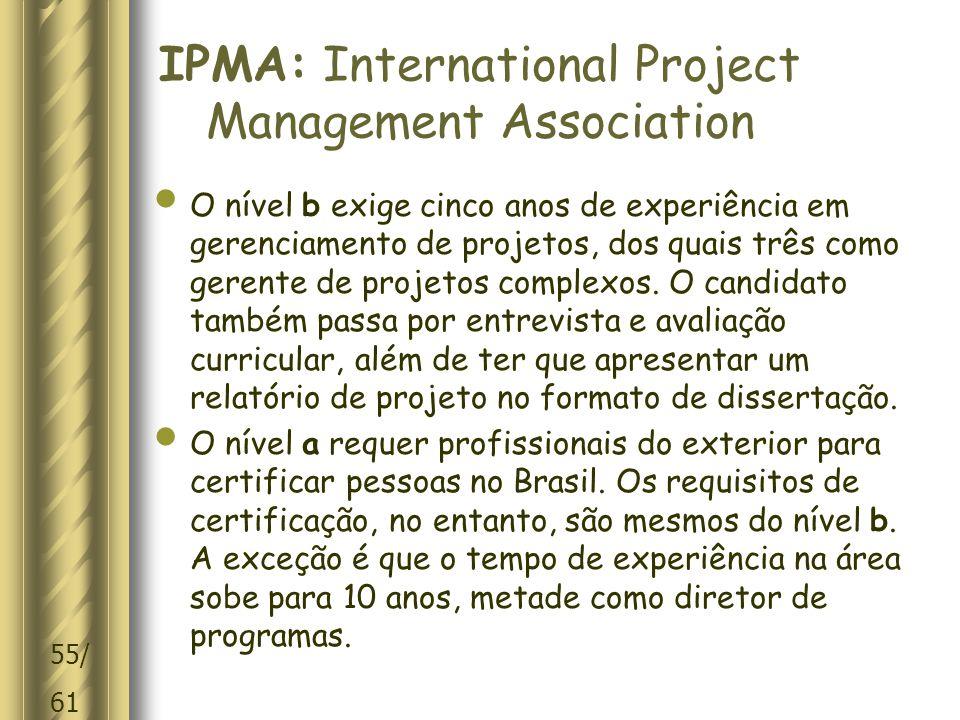 55/ 61 IPMA: International Project Management Association O nível b exige cinco anos de experiência em gerenciamento de projetos, dos quais três como gerente de projetos complexos.