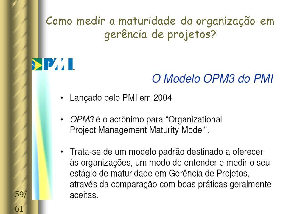59/ 61 Como medir a maturidade da organização em gerência de projetos?