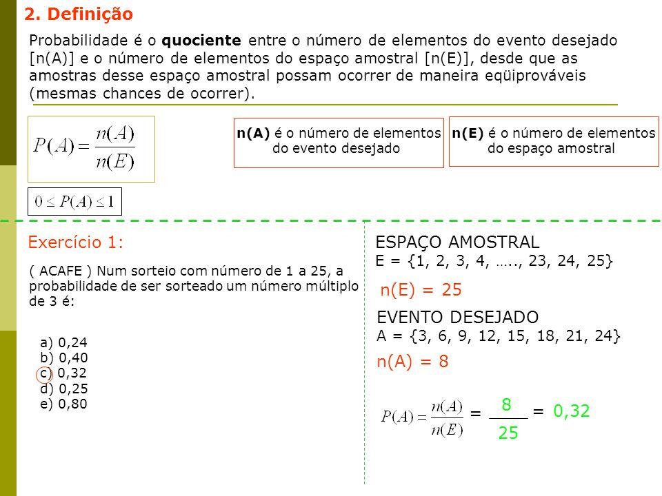 2. Definição Probabilidade é o quociente entre o número de elementos do evento desejado [n(A)] e o número de elementos do espaço amostral [n(E)], desd