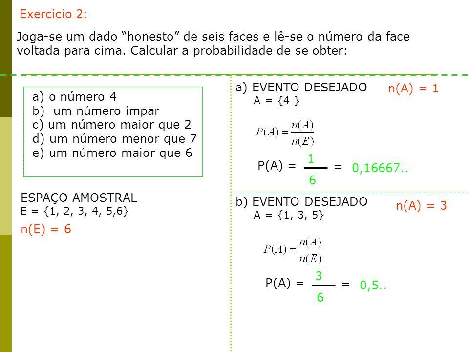 ESPAÇO AMOSTRAL E = {1, 2, 3, 4, 5,6} c) EVENTO DESEJADO A = {3, 4, 5, 6 } n(A) = 4 n(E) = 6 P(A) = 4 6 = 0,6666….