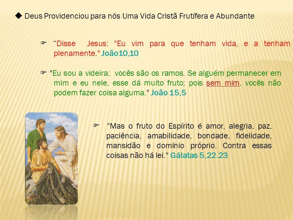 """ Deus Providenciou para nós Uma Vida Cristã Frutífera e Abundante  """"Disse Jesus:"""