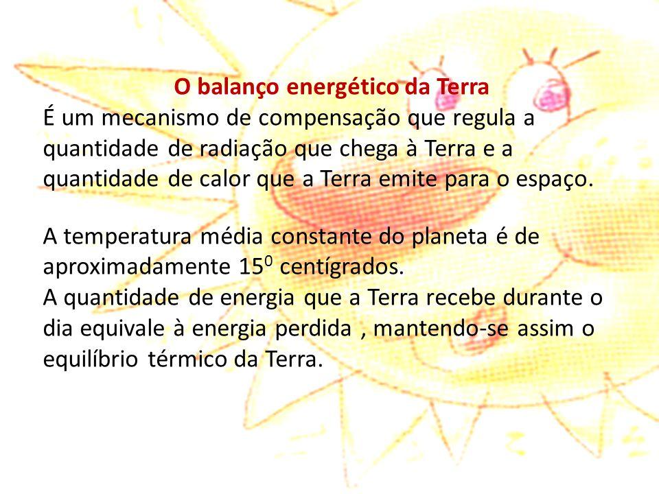 O balanço energético da Terra É um mecanismo de compensação que regula a quantidade de radiação que chega à Terra e a quantidade de calor que a Terra