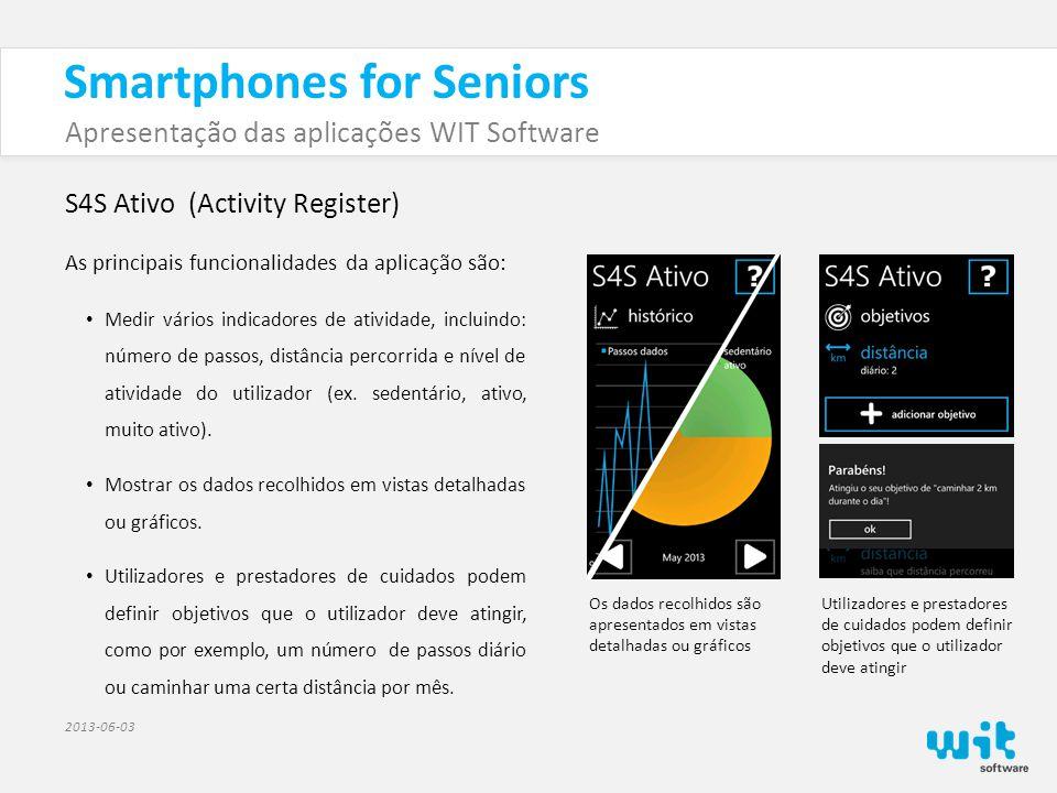 Smartphones for Seniors Apresentação das aplicações WIT Software 2013-06-03 S4S Ativo (Activity Register) Desenvolvimentos futuros As funcionalidades descritas anteriormente estão operacionais.