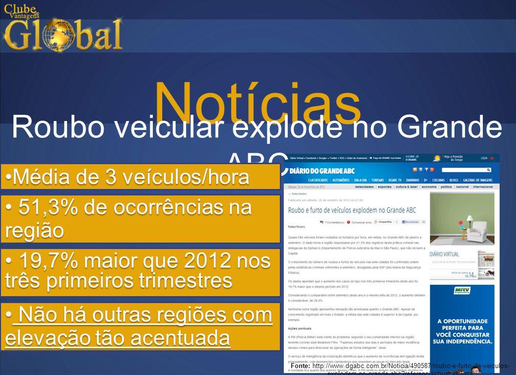 Notícias Fonte: http://www.dgabc.com.br/Noticia/490587/roubo-e-furto-de-veiculos- explodem-no-grande-abc?referencia=buscas-lista Roubo veicular explod