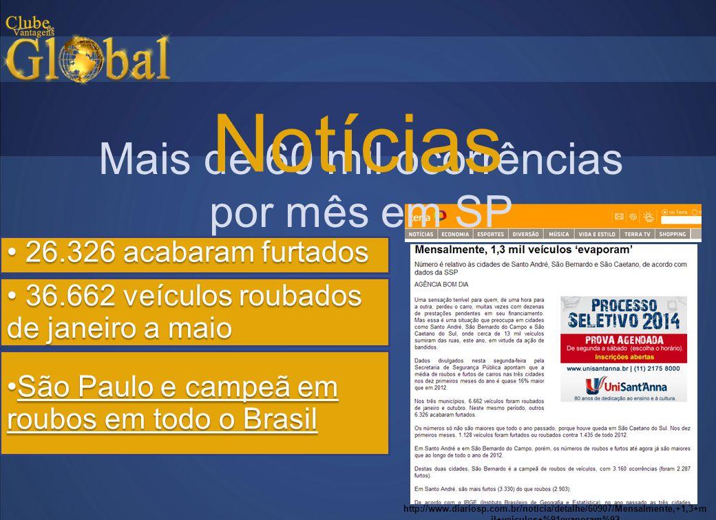 Mais de 60 mil ocorrências por mês em SP Notícias http://www.diariosp.com.br/noticia/detalhe/60907/Mensalmente,+1,3+m il+veiculos+%91evaporam%92 • 36.