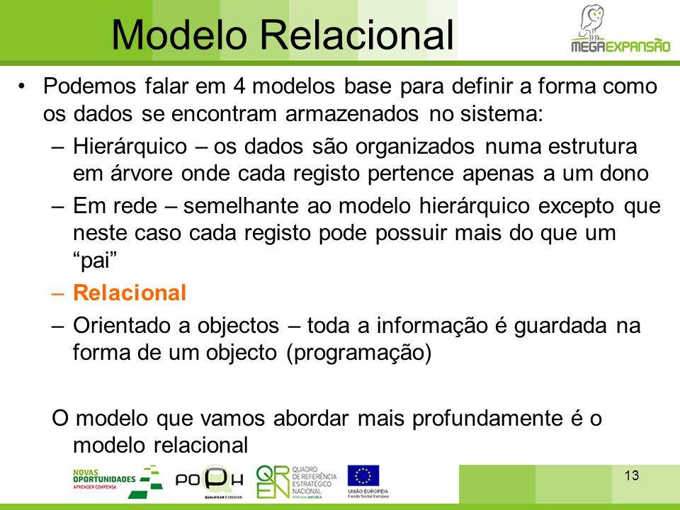 13 Modelo Relacional •Podemos falar em 4 modelos base para definir a forma como os dados se encontram armazenados no sistema: –Hierárquico – os dados