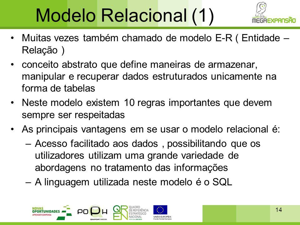 14 Modelo Relacional (1) •Muitas vezes também chamado de modelo E-R ( Entidade – Relação ) •conceito abstrato que define maneiras de armazenar, manipu