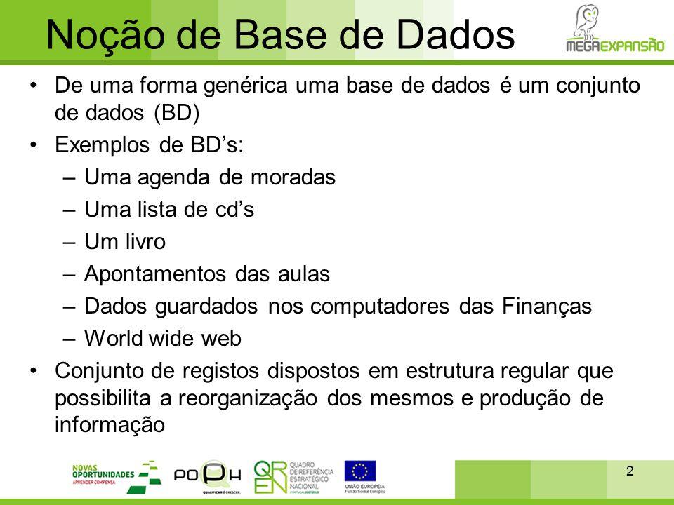 Noção de Base de Dados •De uma forma genérica uma base de dados é um conjunto de dados (BD) •Exemplos de BD's: –Uma agenda de moradas –Uma lista de cd
