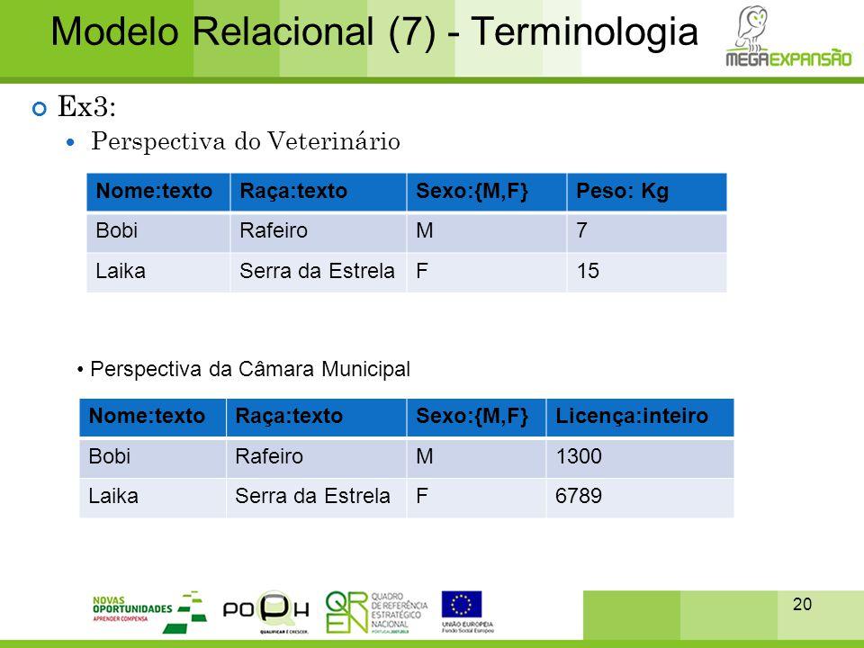 20 Modelo Relacional (7) - Terminologia Ex3:  Perspectiva do Veterinário Nome:textoRaça:textoSexo:{M,F}Peso: Kg BobiRafeiroM7 LaikaSerra da EstrelaF1