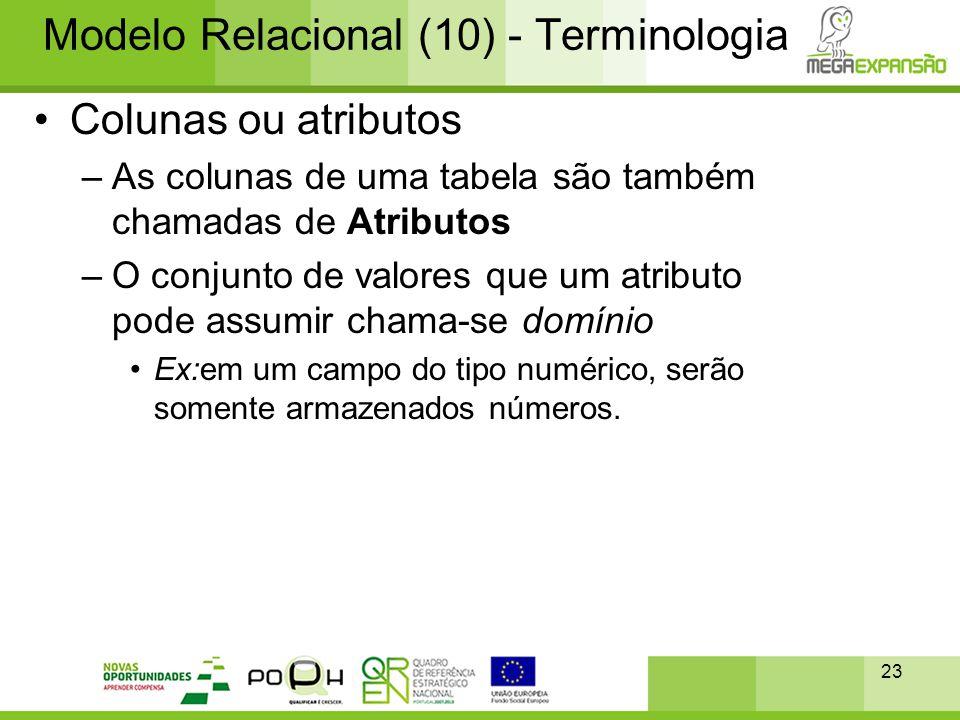 23 Modelo Relacional (10) - Terminologia •Colunas ou atributos –As colunas de uma tabela são também chamadas de Atributos –O conjunto de valores que u