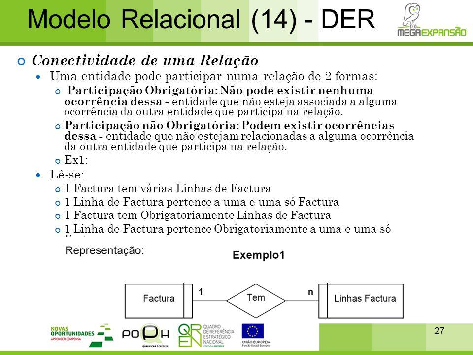 27 Modelo Relacional (14) - DER Conectividade de uma Relação  Uma entidade pode participar numa relação de 2 formas: Participação Obrigatória: Não po