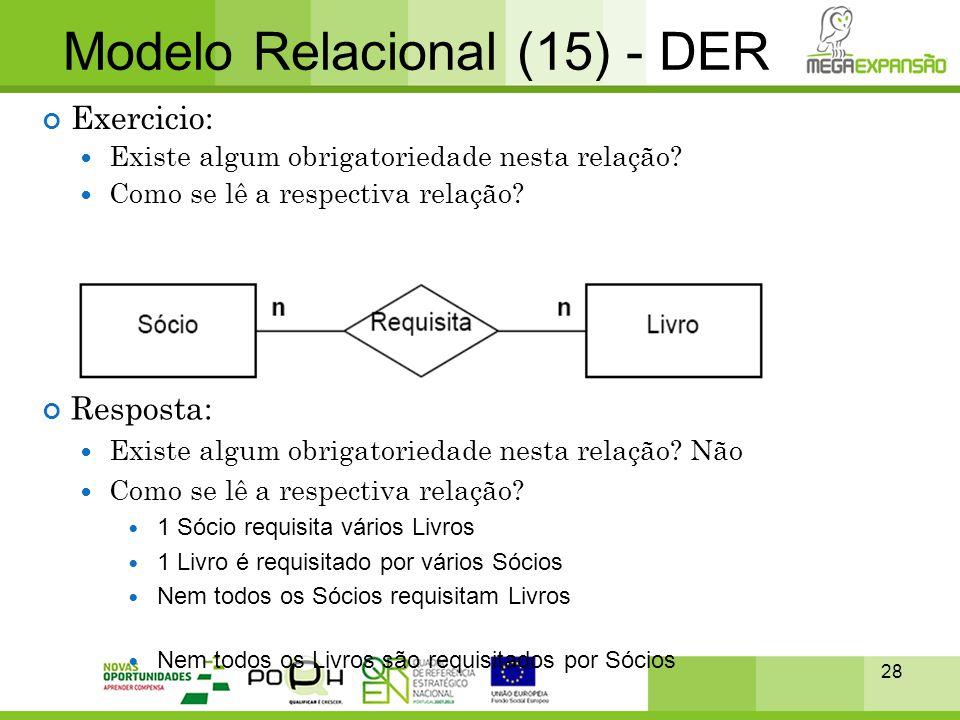 28 Modelo Relacional (15) - DER Exercicio:  Existe algum obrigatoriedade nesta relação?  Como se lê a respectiva relação? Resposta:  Existe algum o