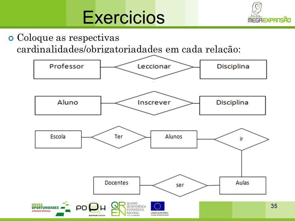 35 Exercicios Coloque as respectivas cardinalidades/obrigatoriadades em cada relação: