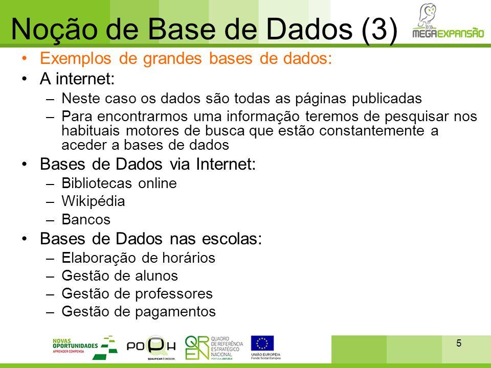 5 Noção de Base de Dados (3) •Exemplos de grandes bases de dados: •A internet: –Neste caso os dados são todas as páginas publicadas –Para encontrarmos