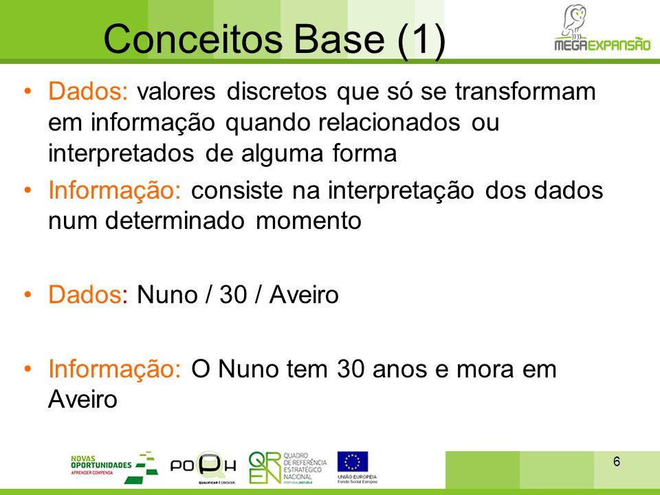 6 Conceitos Base (1) •Dados: valores discretos que só se transformam em informação quando relacionados ou interpretados de alguma forma •Informação: c