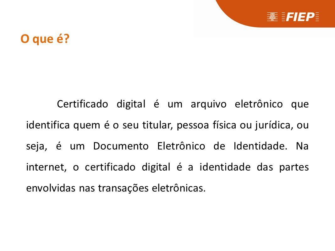 O que é? Certificado digital é um arquivo eletrônico que identifica quem é o seu titular, pessoa física ou jurídica, ou seja, é um Documento Eletrônic