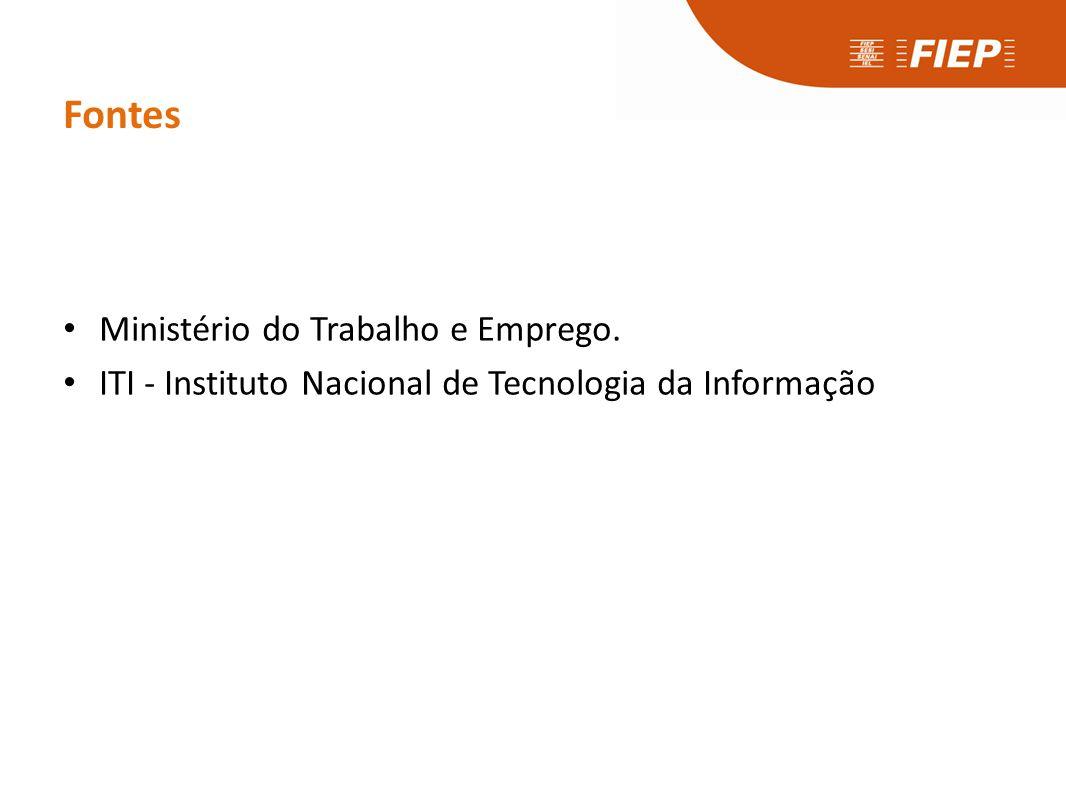 Fontes • Ministério do Trabalho e Emprego. • ITI - Instituto Nacional de Tecnologia da Informação