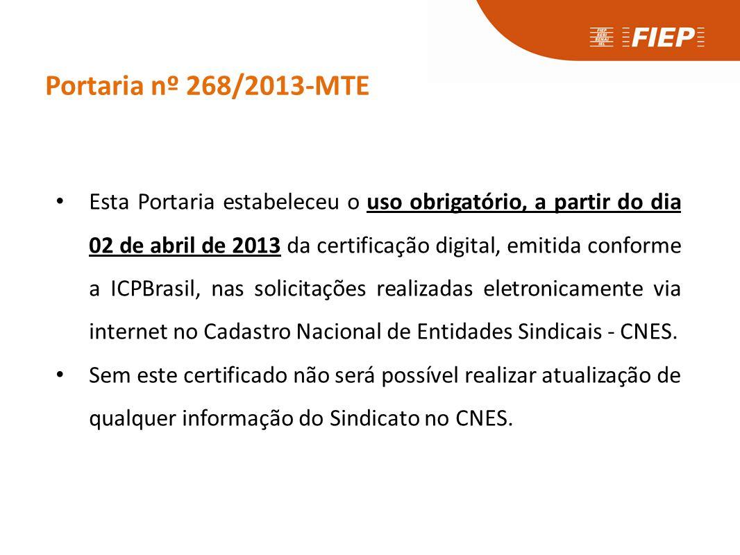 Portaria nº 268/2013-MTE • Esta Portaria estabeleceu o uso obrigatório, a partir do dia 02 de abril de 2013 da certificação digital, emitida conforme
