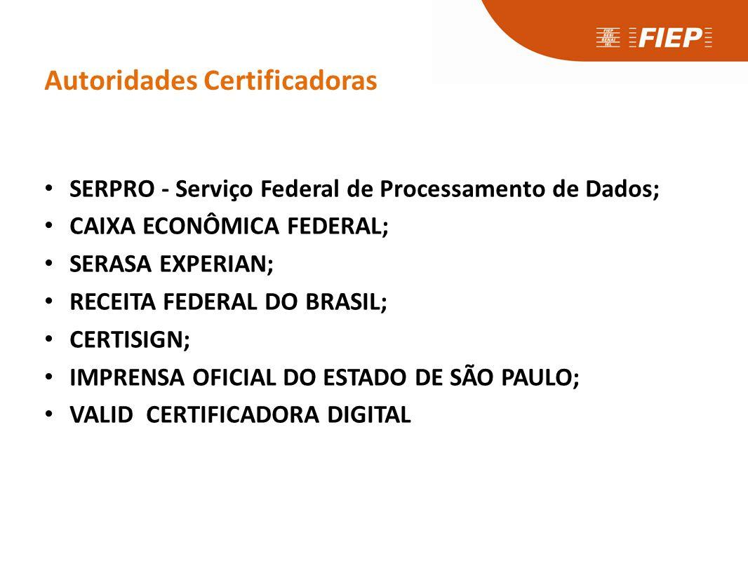 Autoridades Certificadoras • SERPRO - Serviço Federal de Processamento de Dados; • CAIXA ECONÔMICA FEDERAL; • SERASA EXPERIAN; • RECEITA FEDERAL DO BR