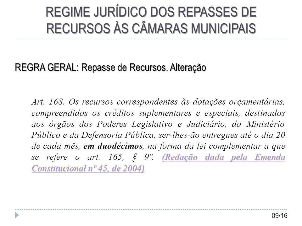 REGIME JURÍDICO DOS REPASSES DE RECURSOS ÀS CÂMARAS MUNICIPAIS REGRA GERAL: Repasse de Recursos.