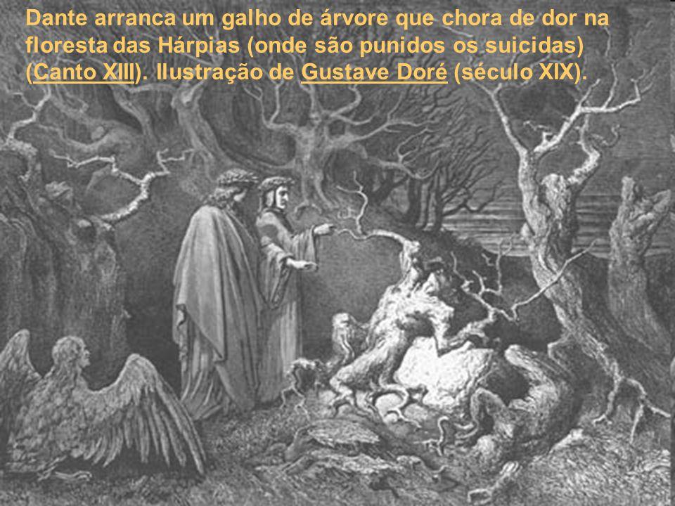 Dante arranca um galho de árvore que chora de dor na floresta das Hárpias (onde são punidos os suicidas) (Canto XIII). Ilustração de Gustave Doré (séc