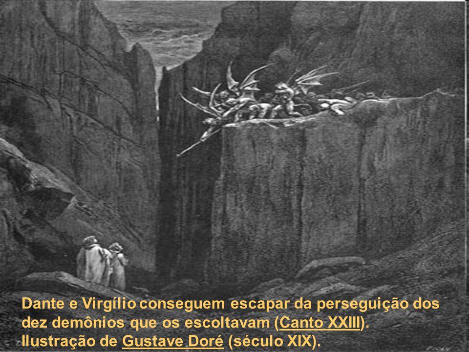 Dante e Virgílio conseguem escapar da perseguição dos dez demônios que os escoltavam (Canto XXIII). Ilustração de Gustave Doré (século XIX).Canto XXII