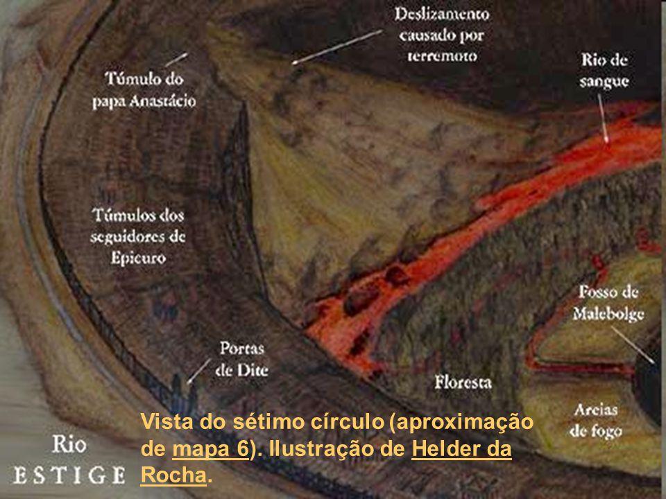 Vista do sétimo círculo (aproximação de mapa 6). Ilustração de Helder da Rocha.mapa 6Helder da Rocha