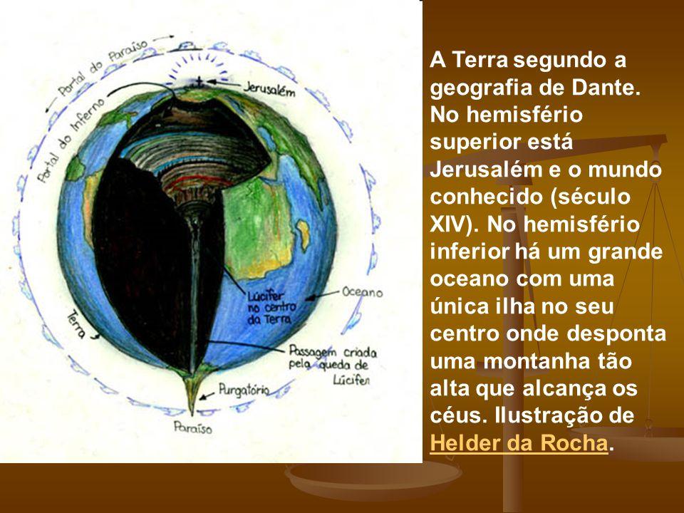 A Terra segundo a geografia de Dante. No hemisfério superior está Jerusalém e o mundo conhecido (século XIV). No hemisfério inferior há um grande ocea