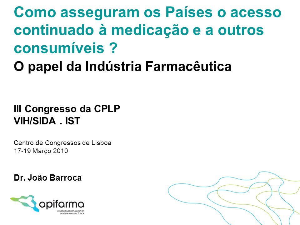 Como asseguram os Países o acesso continuado à medicação e a outros consumíveis ? O papel da Indústria Farmacêutica III Congresso da CPLP VIH/SIDA. IS