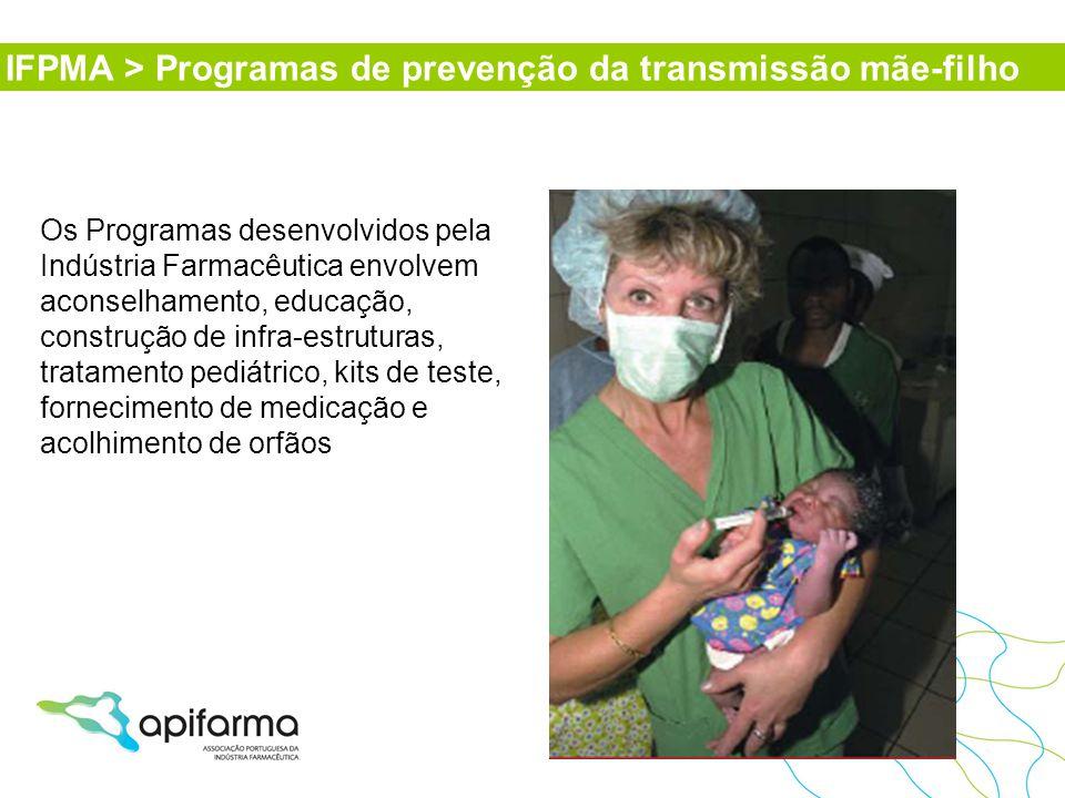 Os Programas desenvolvidos pela Indústria Farmacêutica envolvem aconselhamento, educação, construção de infra-estruturas, tratamento pediátrico, kits