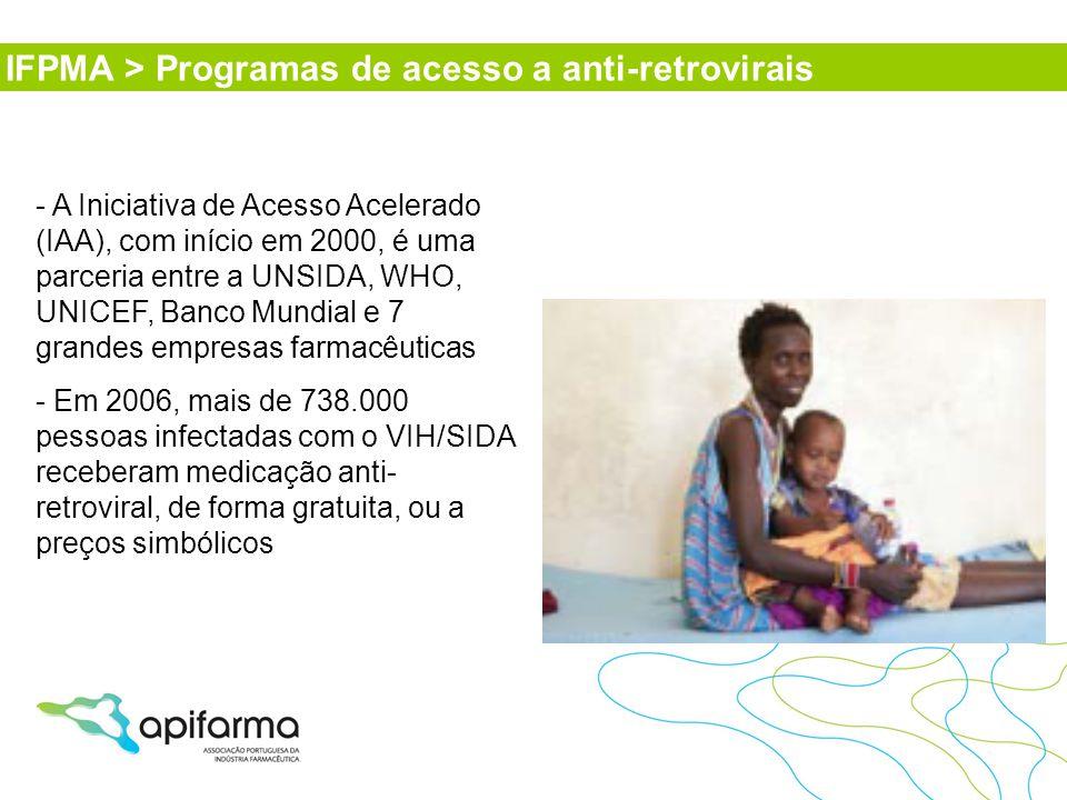 - A Iniciativa de Acesso Acelerado (IAA), com início em 2000, é uma parceria entre a UNSIDA, WHO, UNICEF, Banco Mundial e 7 grandes empresas farmacêut