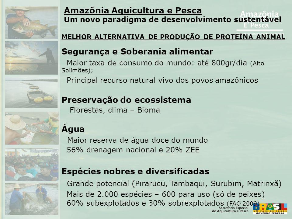 Segurança e Soberania alimentar Maior taxa de consumo do mundo: até 800gr/dia (Alto Solimões); Principal recurso natural vivo dos povos amazônicos Pre