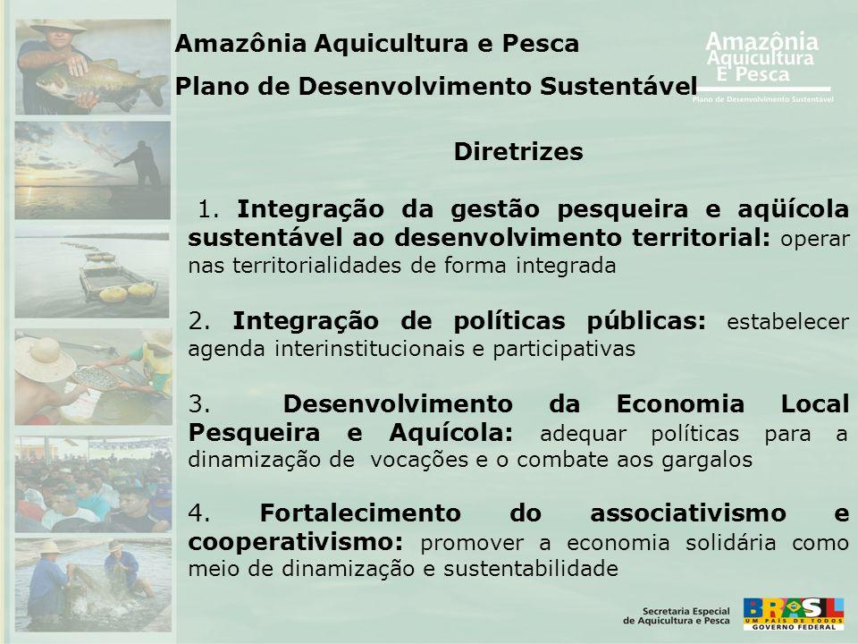Diretrizes 1. Integração da gestão pesqueira e aqüícola sustentável ao desenvolvimento territorial: operar nas territorialidades de forma integrada 2.