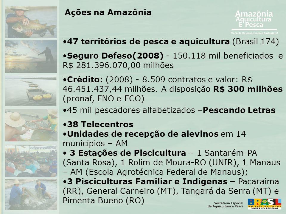 •47 territórios de pesca e aquicultura (Brasil 174) •Seguro Defeso(2008) - 150.118 mil beneficiados e R$ 281.396.070,00 milhões •Crédito: (2008) - 8.5