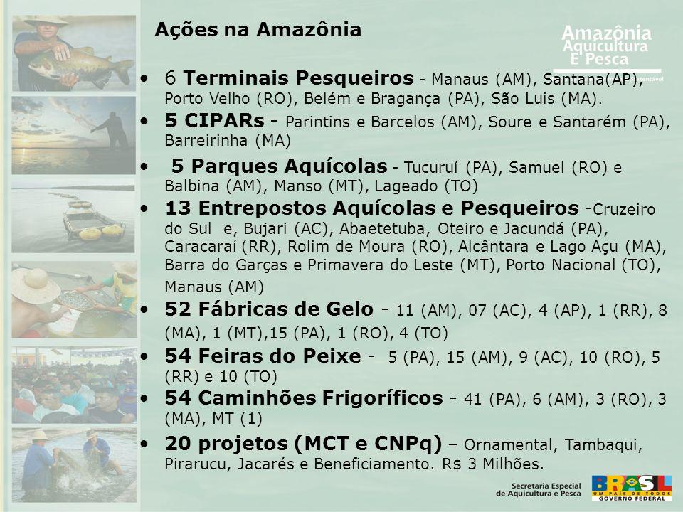 •6 Terminais Pesqueiros - Manaus (AM), Santana(AP), Porto Velho (RO), Belém e Bragança (PA), São Luis (MA). •5 CIPARs - Parintins e Barcelos (AM), Sou