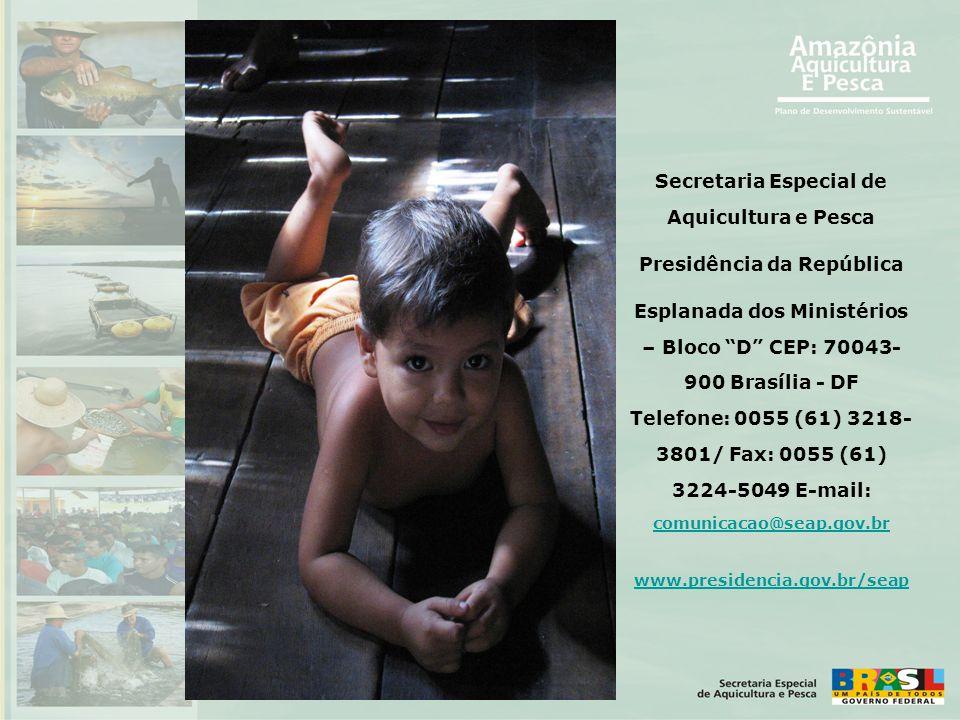 """Secretaria Especial de Aquicultura e Pesca Presidência da República Esplanada dos Ministérios – Bloco """"D"""" CEP: 70043- 900 Brasília - DF Telefone: 0055"""