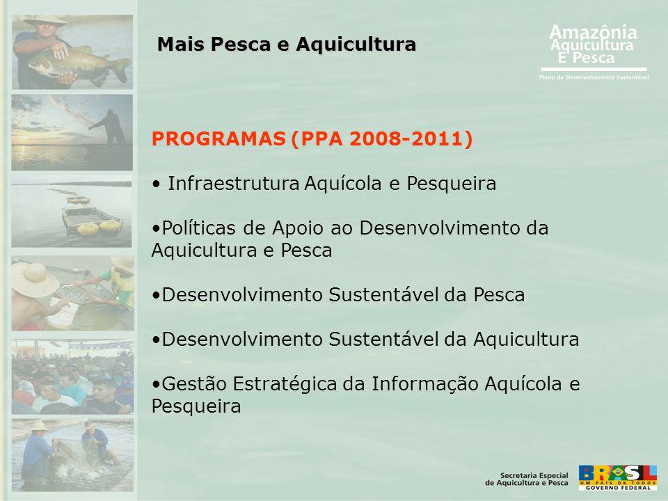 PROGRAMAS (PPA 2008-2011) • Infraestrutura Aquícola e Pesqueira •Políticas de Apoio ao Desenvolvimento da Aquicultura e Pesca •Desenvolvimento Sustent