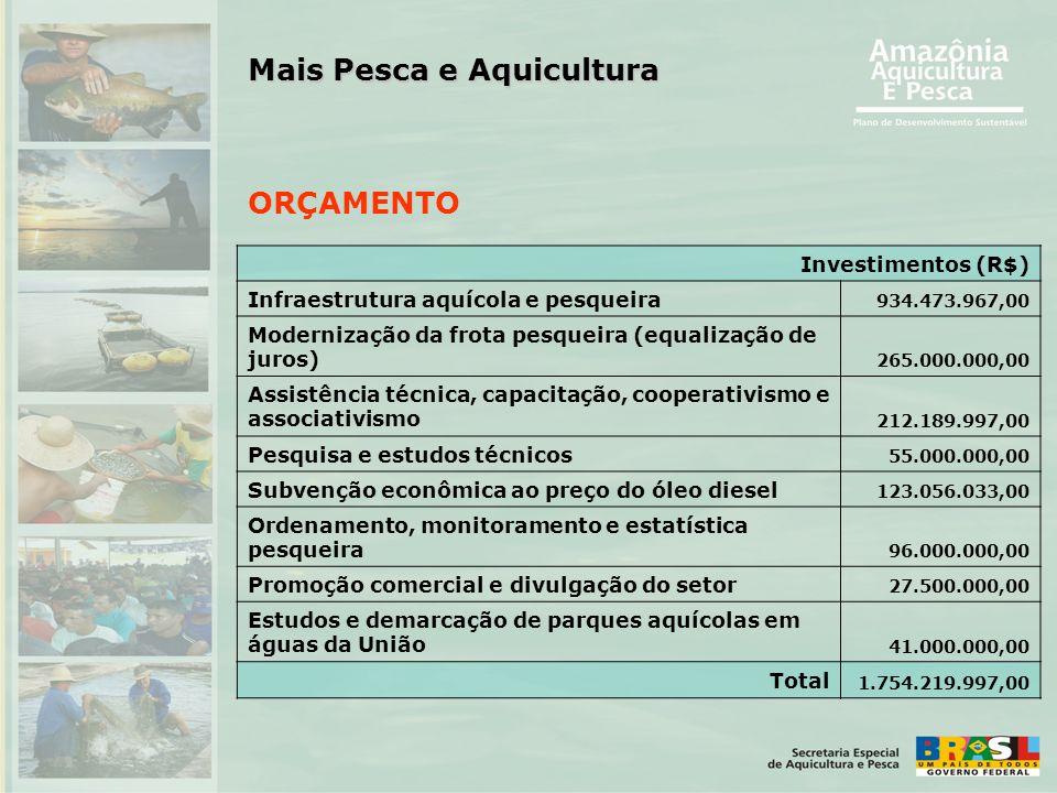 ORÇAMENTO Investimentos (R$) Infraestrutura aquícola e pesqueira 934.473.967,00 Modernização da frota pesqueira (equalização de juros) 265.000.000,00