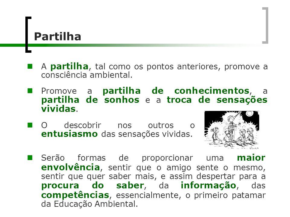 Partilha  A partilha, tal como os pontos anteriores, promove a consciência ambiental.  Promove a partilha de conhecimentos, a partilha de sonhos e a