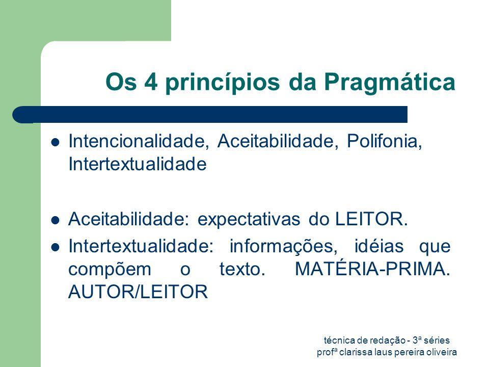 técnica de redação - 3ª séries profª clarissa laus pereira oliveira Os 4 princípios da Pragmática  Intencionalidade, Aceitabilidade, Polifonia, Intertextualidade  Aceitabilidade: expectativas do LEITOR.