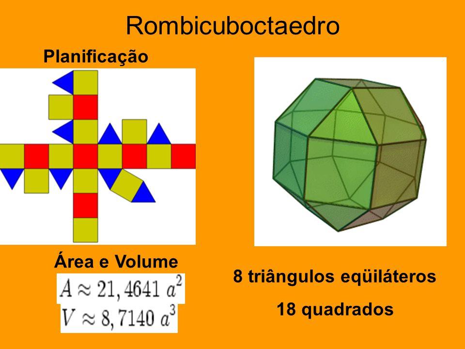 Rombicuboctaedro Planificação Área e Volume 8 triângulos eqüiláteros 18 quadrados