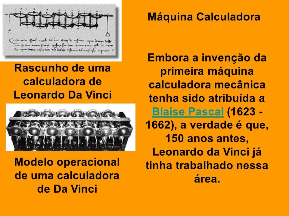Rascunho de uma calculadora de Leonardo Da Vinci Modelo operacional de uma calculadora de Da Vinci Máquina Calculadora Embora a invenção da primeira m
