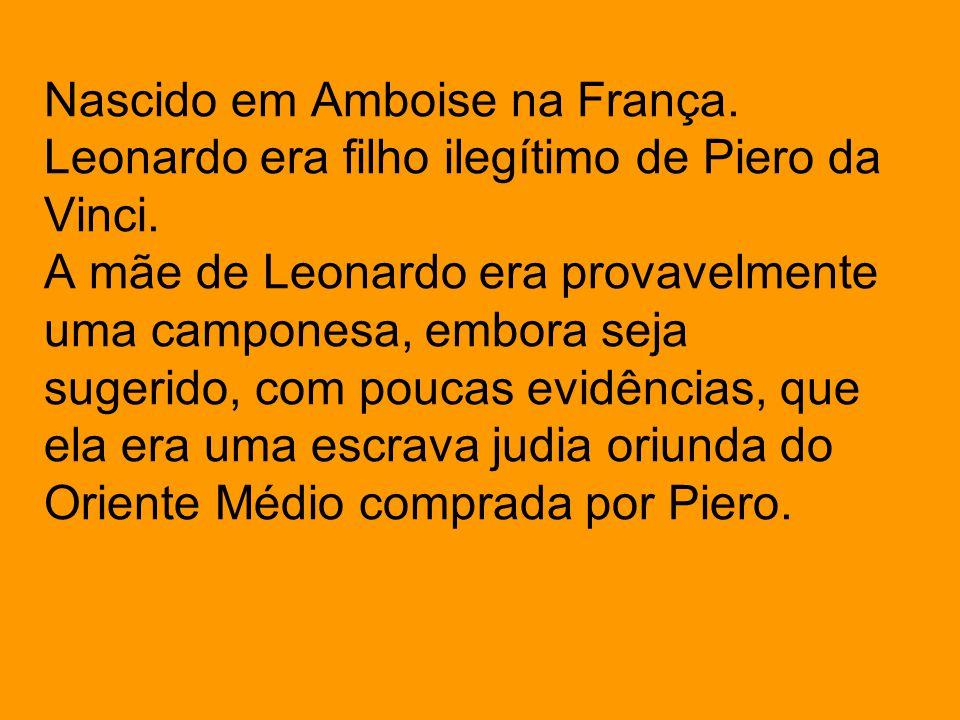 Nascido em Amboise na França. Leonardo era filho ilegítimo de Piero da Vinci. A mãe de Leonardo era provavelmente uma camponesa, embora seja sugerido,