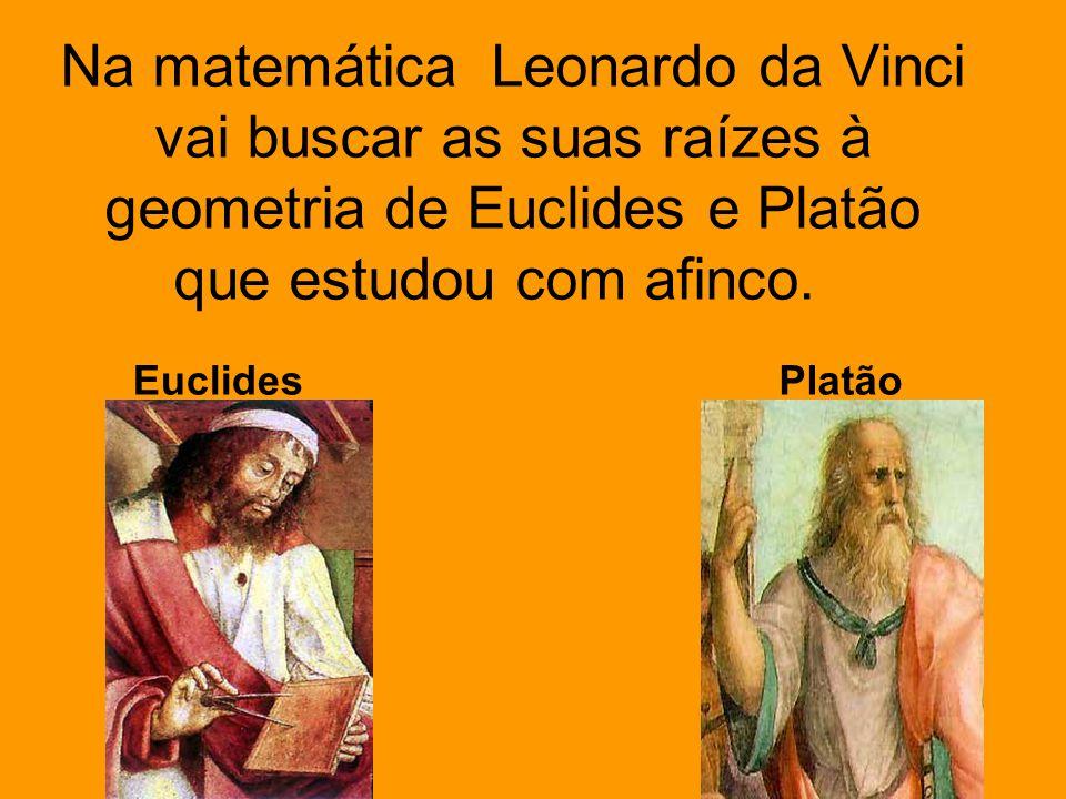 Na matemática Leonardo da Vinci vai buscar as suas raízes à geometria de Euclides e Platão que estudou com afinco. EuclidesPlatão