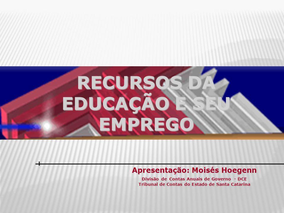 RECURSOS DA EDUCAÇÃO E SEU EMPREGO Apresentação: Moisés Hoegenn Divisão de Contas Anuais de Governo - DCE Tribunal de Contas do Estado de Santa Catari