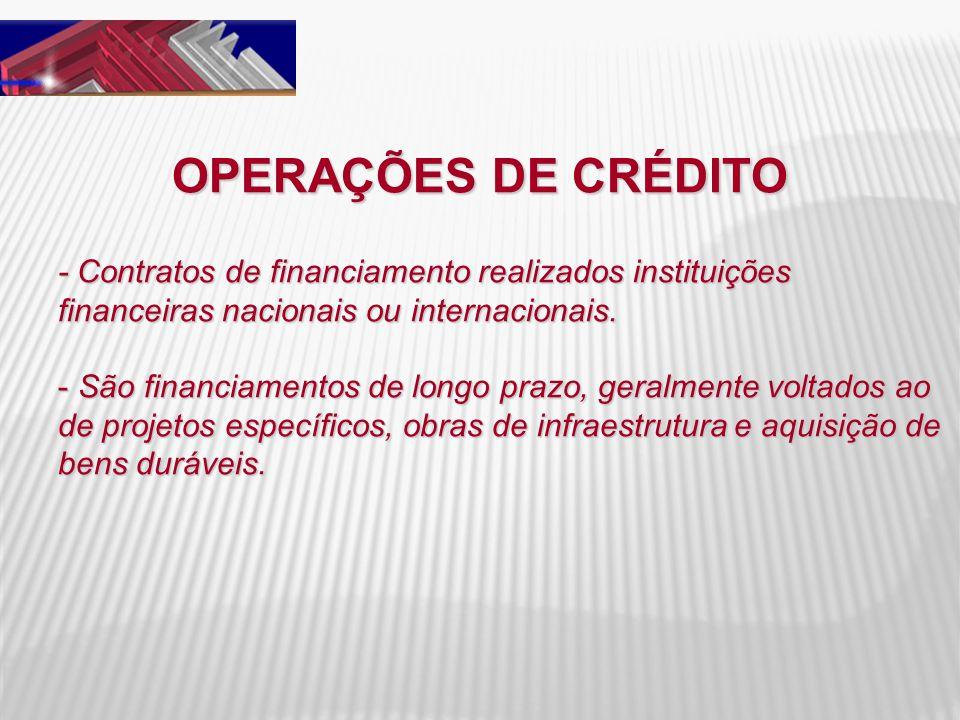 OPERAÇÕES DE CRÉDITO - Contratos de financiamento realizados instituições financeiras nacionais ou internacionais. - São financiamentos de longo prazo